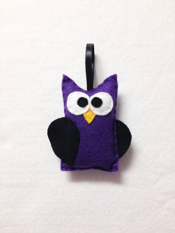 Owl Ornament, Halloween Ornament, Cruella the Purple Owl - Made to Order, Felt Animal