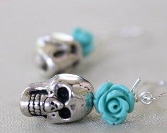 Skull Dangle Flower Earrings, Halloween Earrings, Goth, Rocker Chic, Biker Chic, Day of The Dead