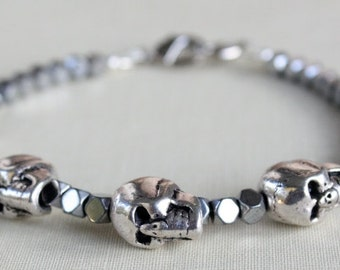 Fathers Day, Father Gift, Men's Skull Bracelet, Skull Bracelet, Skull Jewelry, Skull Jewelry For Him, Gifts For Him, Fathers Day Gift