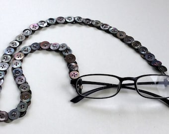 Eyeglass Chain in Vintage Buttons - Dark Mother of Pearl