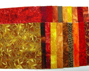 CHARM PACK, charm squares, FORTY 5 inch squares, assorted gorgeous autumn reds, golds, tans, and browns, 100% premium cotton