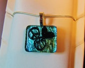 Peace Love Basketball Necklace Pendant - Blue Green Mix Dichroic Jewelry - Free Shipping