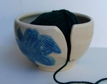 ceramic Yarn Bowl,  Knitting Bowl, Yarn Holder, Crochet Bowl, Blue Lily
