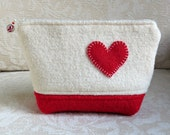 Heart Felt Zippered Pouch, Upcycled Felted Wool Clutch in White and Red