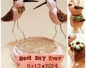 Natural Sandpipers In Love wedding cake topper for the Rustic Beach Wedding Made to order