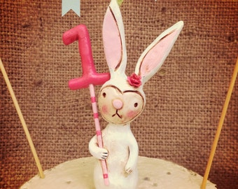 Woodland Bunny Rabbit cake topper with your choice of number for birthday party or special occasion
