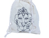 GANESHA Screen Print Unbleached Cotton Drawstring Bag