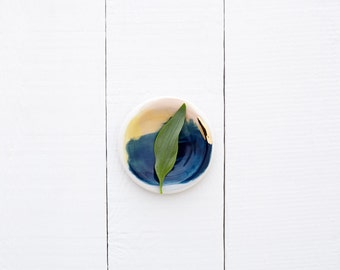 Zion 14k Gold Porcelain Set of 4 Small Dipping Plates // From Canyon Series // Modern, Organic Home Goods