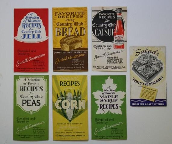 Vintage Kroger Grocer Recipe Brochures. Bonus Kraft Booklet