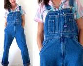 Vintage 90s Oversized Dark Wash Blue Denim Overalls