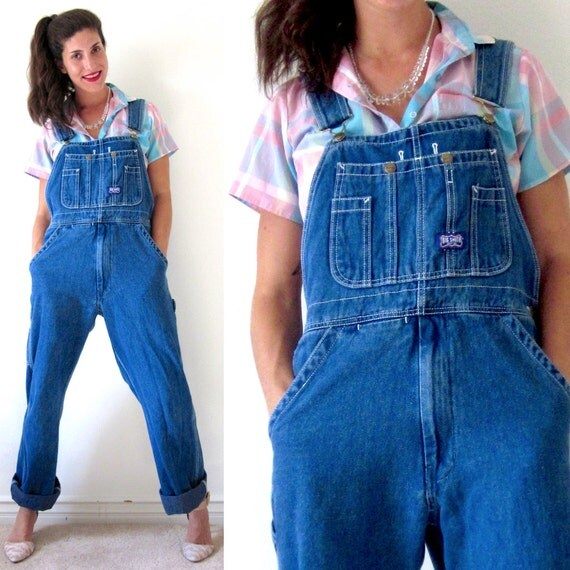 SUMMER SALE/ 30% off Vintage 90s Oversized Dark Wash Blue Denim Overalls