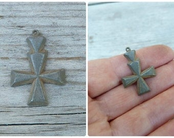 Vintage Antique old French 1930/30s  medal / silvered cross /religious/ christianity