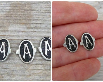 Vintage Antique 1900/1920  French set of 3 small  silvered & black metal letter A