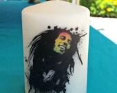 Bob Marley Splash 2x3 Pillar Candle