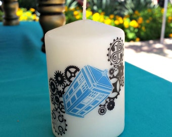 Dr. Who Steampunk 2 x 3 Pillar Candle