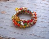 God's Promise crocheted rainbow necklace,spiritual,earthy, natural, colorful