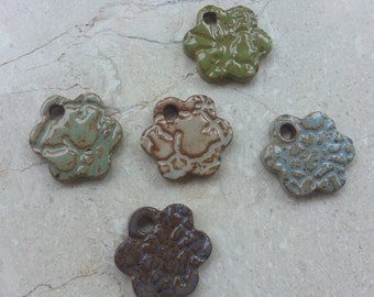 SPECIAL PRICE - 75% OFF - Small Stoneware Glazed Pottery Pendant Set no.46 - Also great as Miniature Ornaments - Set of 5 - Textured Daisies