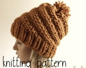 Knitting Hat Pattern - Spiral Hat - Chunky Hat - Slouchy Hat - Beanie