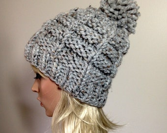 Slouchy Knit Hat - Women's Hat - Chunky Hat - Pom Pom Hat - Hand knit hat - Ribbed - Gray Hat