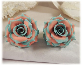 Mint Tip Coral Rose Earrings Stud or Clip On