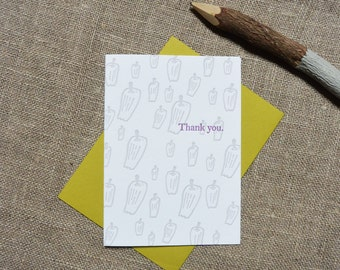 Letterpress Greeting Card - Thank You Card - Pepper Illustration Pattern - EGI-361