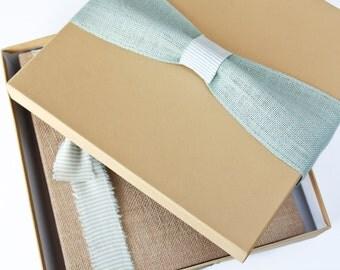 Keepsake Box - Baby Book Add on, Light Aqua Burlap Ribbon