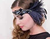 Midnight Jazz Flapper Feather Headband Smokey Blue And Black Gatsby Style