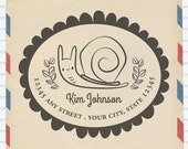 Garden Snail Address Rubberstamp - Personalize Address Stamp - Custom Return Address Stamp