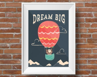 Dream Big Bear in Hot Air Balloon: Children's Artwork, Wall Art, Nursery Decor