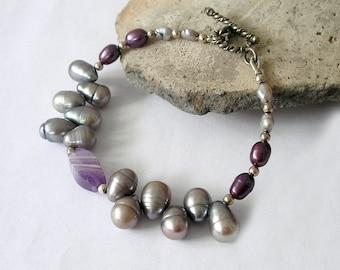 Purple Gemstone Bracelet Amethyst Freshwater Pearl Sterling Silver Boho Luxe Gemstone Jewelry Set Available