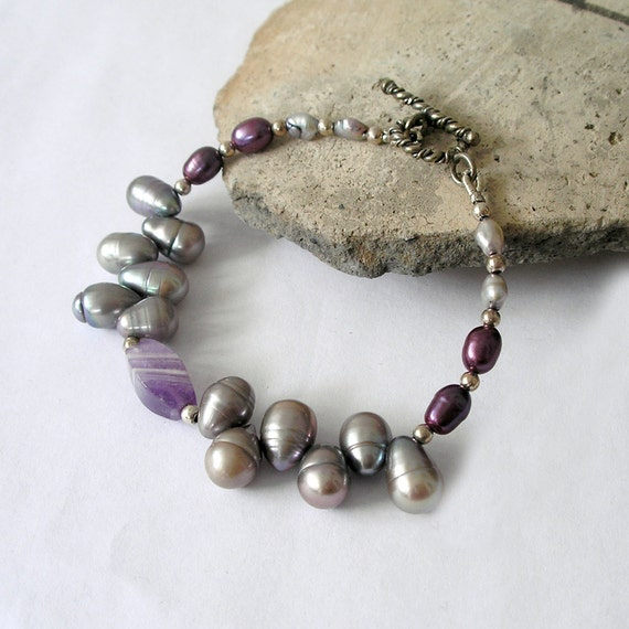 Purple Gemstone Bracelet Amethyst Freshwater Pearl Sterling Silver Boho Luxe Gemstone Jewelry Set Available