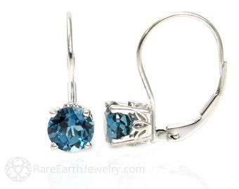 14K London Blue Topaz Earrings 6mm Studs December Birthstone Stud Earrings 14K White or Yellow Gold