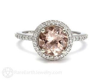Morganite Ring Morganite Engagement Ring with Diamond Halo 14K or 18K Gold Pink Gemstone Ring