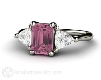 Pink Tourmaline Ring Vintage Tourmaline Engagement Ring Diamond 3 Stone Ring Trillions 14K or 18K Gold Pink Gemstone Ring October Birthstone