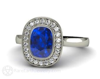 Blue Sapphire Engagement Ring Sapphire Ring Bezel Set Cushion with Diamond Halo 14K or 18K Gold Custom Bridal Jewelry