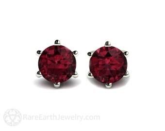 Rhodolite Garnet Earrings 14K Garnet Stud Earrings Post Earrings January Birthstone