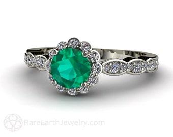 Emerald Engagement Ring 14K Diamond Halo Emerald Ring May Birthstone Custom Bridal Jewelry