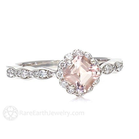 Morganite Ring Asscher Morganite Engagement Ring Diamond Halo Unique Engagement Pink Gemstone Ring