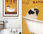 Pug dog bath soap Company vintage style artwork by Stephen Fowler Giclee Signed Print