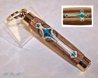 Keychain / Key Ring Pocket Toothpick Holder, Sewing Needle Case, Secret Compartment in Laser Cut Western Cross Inlay
