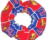 University of Kansas Jayhawks KU Hair Scrunchie Scrunchies by Sherry Ties Ponytail Holders NCAA Fabric