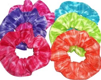 Hair Scrunchie Tie Dye Teal Blue Lime Green Red Orange Pink Purple Scrunchies by Sherry Blending Colors