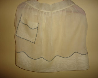Vintage Easter Yellow Organza Apron Pocket Black Stitching 1950s Ships Free