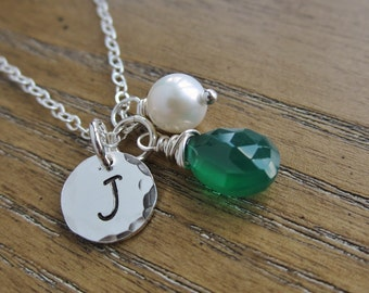 New mom necklace, personalized initial, May birthstone necklace, Mothers necklace, freshwater pearl, silver initial necklace, May birthday