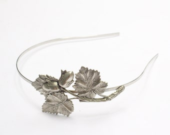 Autumn headband oak leaf acorn fall hair accessory woodland silver finish bridal hair accessory