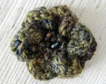 Variegate Olive and Dark Blue Crochet Flower Pin - Navy and Olive Green Flower Brooch