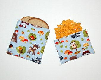 Woodland Kawaii Animals - Eco Friendly Reusable Sandwich and Snack Bag Set