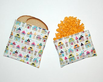 Home Sweet Home - Eco Friendly Reusable Sandwich and Snack Bag Set