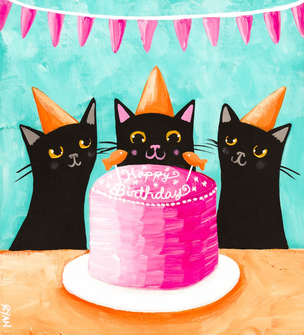 Happy Birthday Cat Wishes: CAT Art Happy Birthday Kitties Original Cat Folk Art Painting