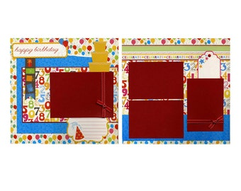 Happy Birthday - Premade Scrapbook Page Set